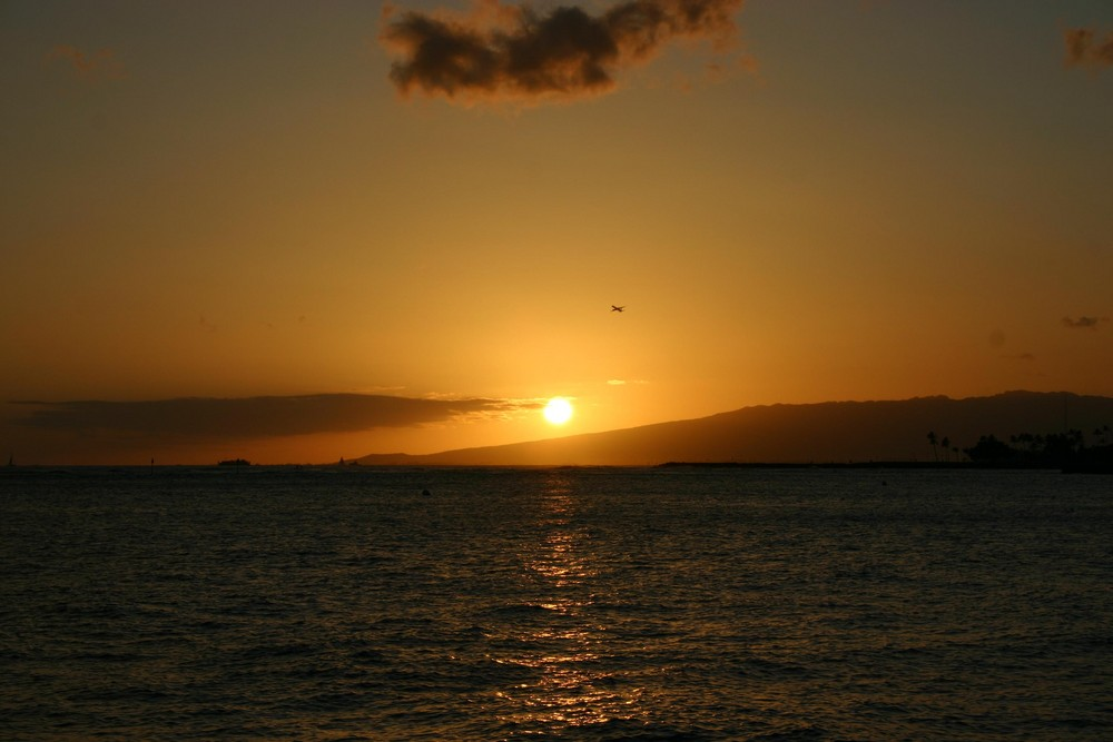 Couché de soleil depuis la baie de waikiki