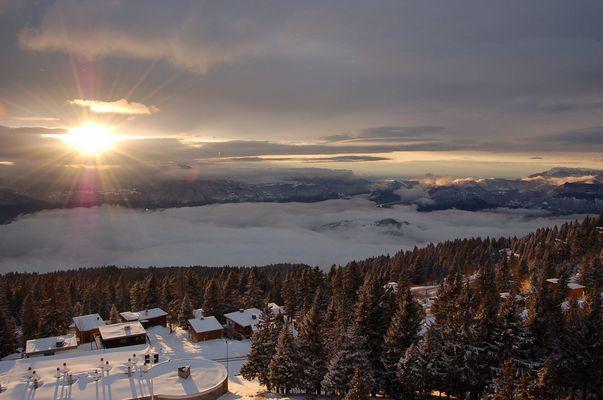 Couché de soleil et nappe de nuage sur Grenoble