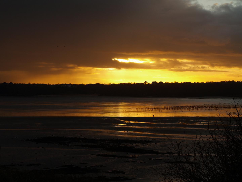 coucher d soleil sur la côte d'Emeraude