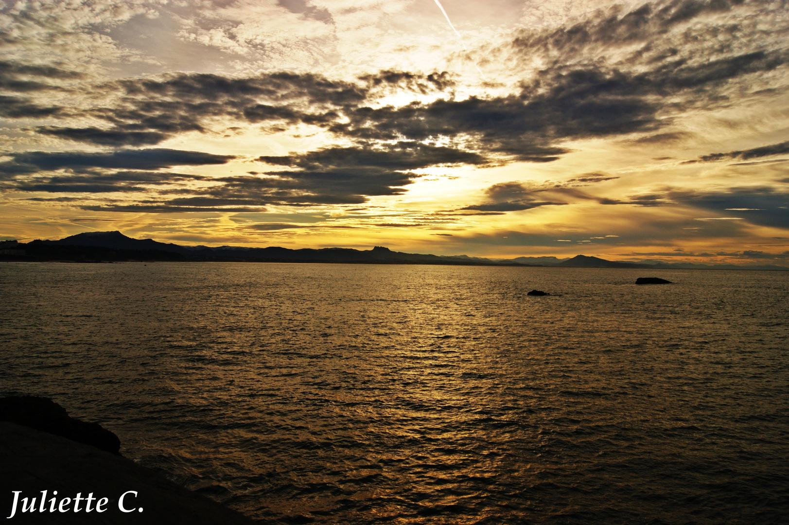 Coucher de soleil à Biarritz