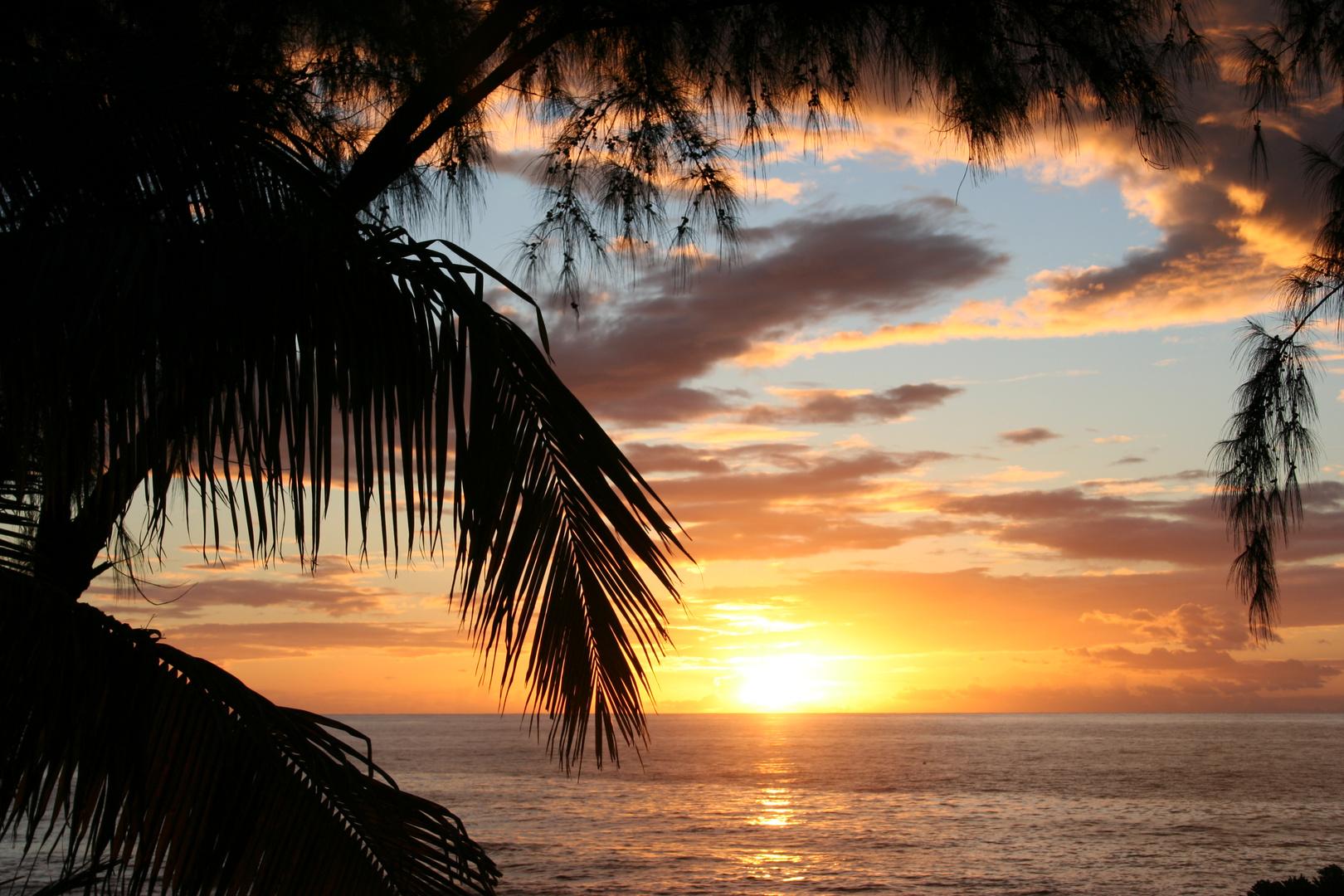 coucher de soleil a boucan canot la réunion