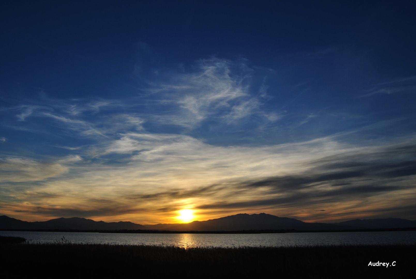 coucher de soleil a l' étang des pecheurs (66)