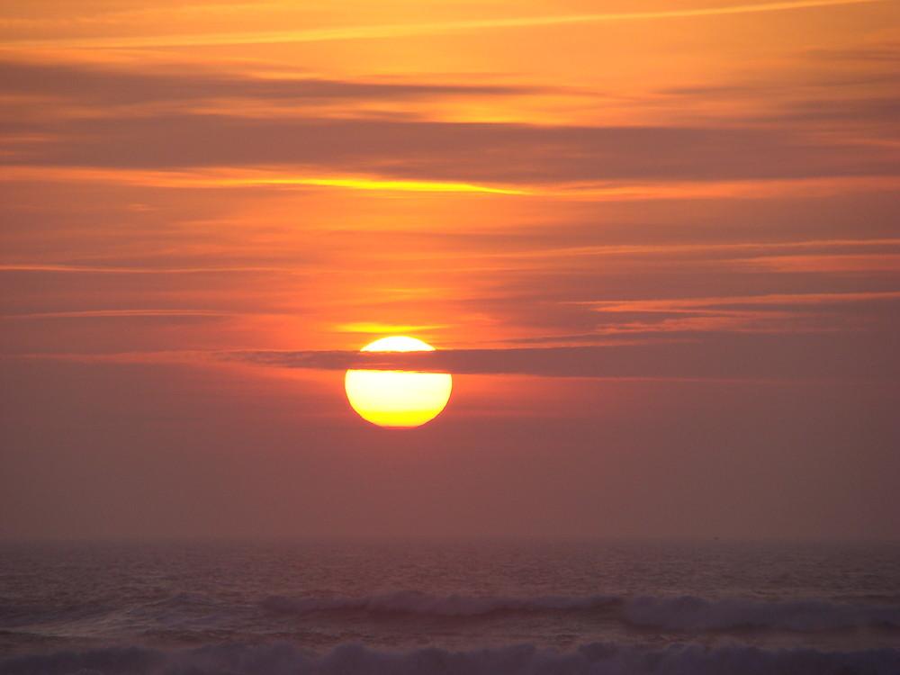 Coucher de soleil à Vieux Boucau sur la mer