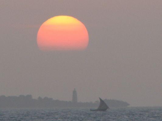 coucher de soleil à Zanzibar