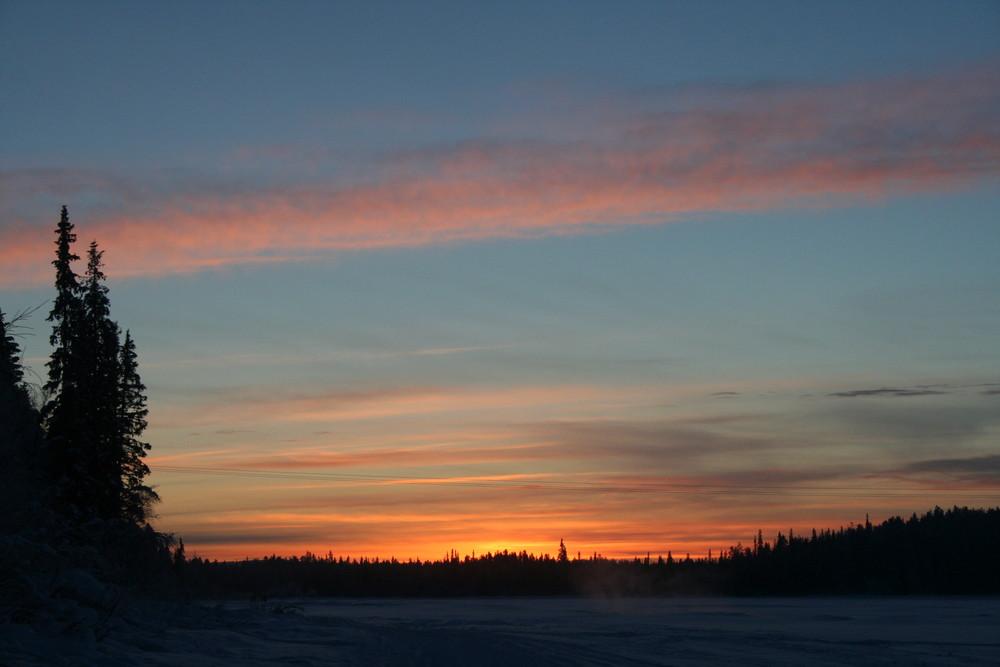 coucher de soleil chez les Lapon
