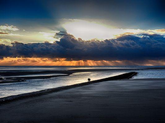 coucher de soleil en baie d' authie