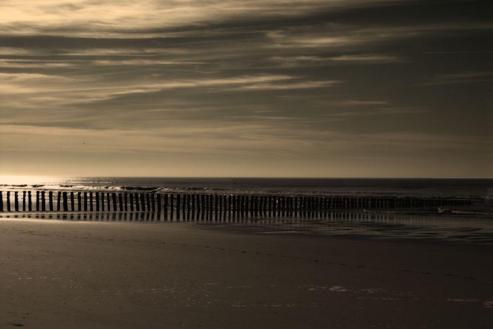 coucher de soleil en baie de l' authie