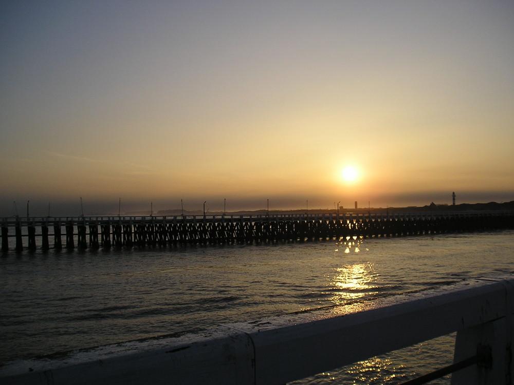 coucher de soleil en mer du Nord