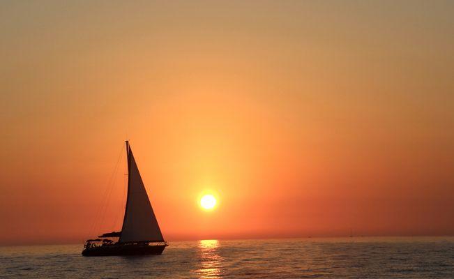 Coucher de soleil en mer Egée
