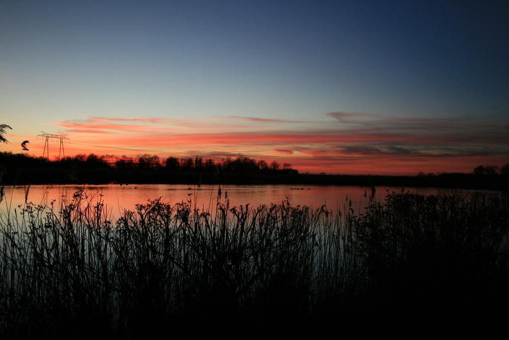 Coucher de soleil marais du blayais (GIRONDE)