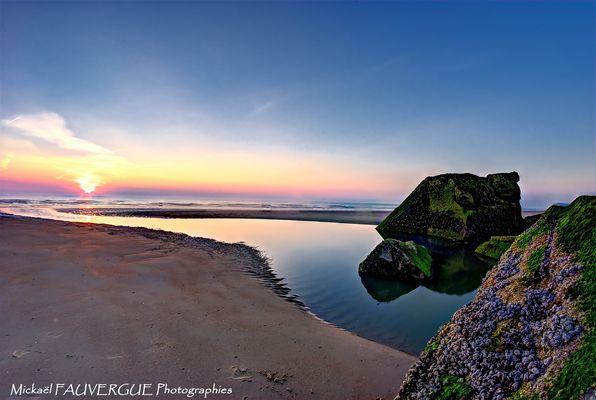 Coucher de soleil sur la baie de Wissant