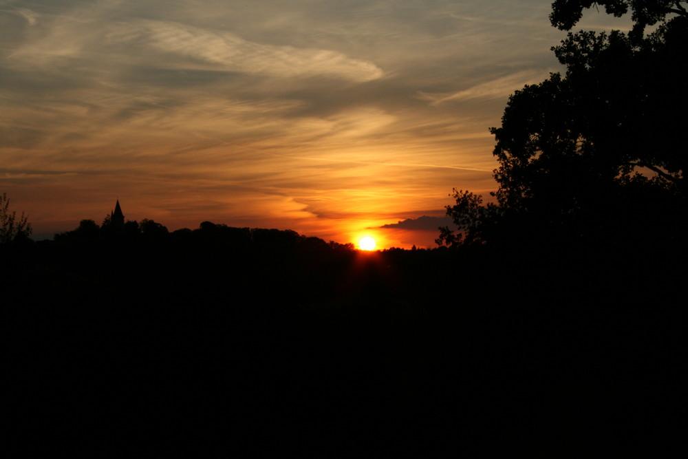 Coucher de soleil sur la Bresse