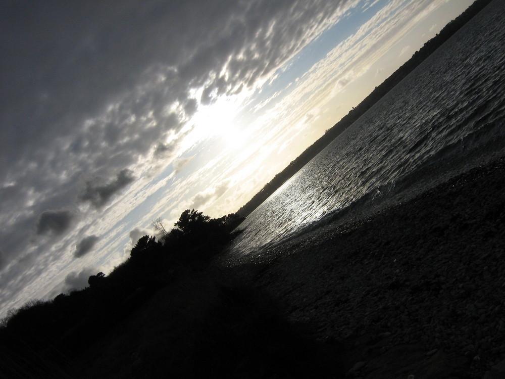 coucher de soleil sur la côte de granite rose Côtes d'Armor