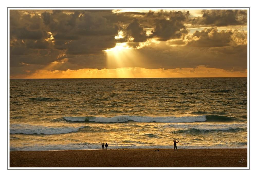 coucher de soleil sur la Côte Landaise