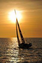 Coucher de soleil sur la flotte .