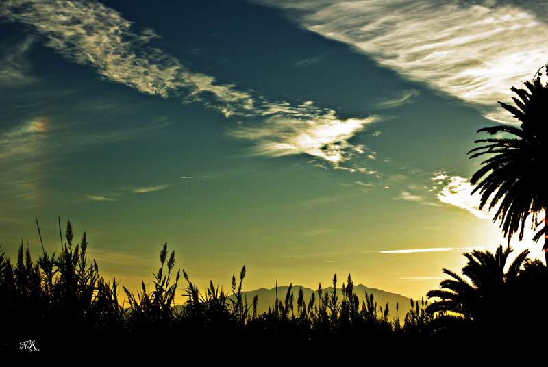 Coucher de soleil sur les berges de l'Agly