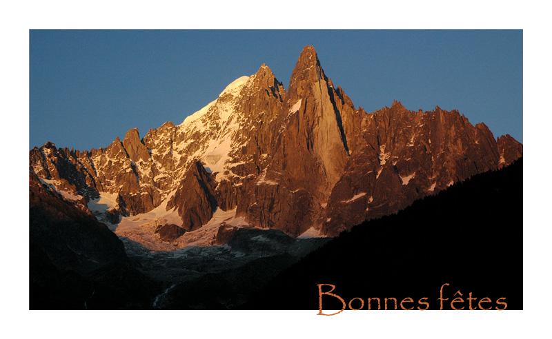 Coucher de soleil sur les Drus - Chamonix