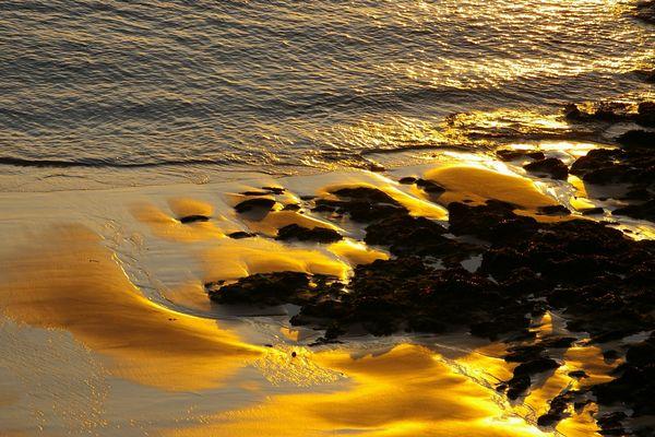 coucher de soleil sur plage de St Malo