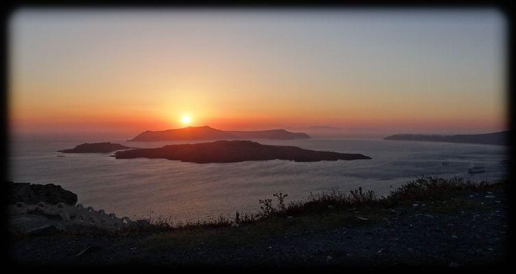 Coucher de soleil sur volcan