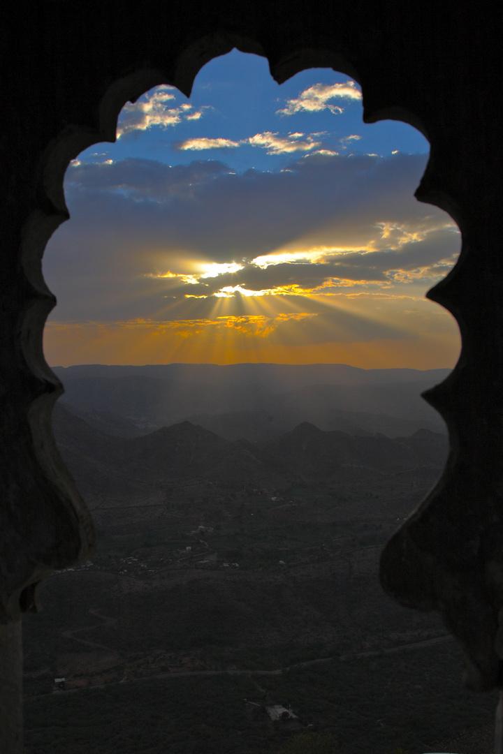 Coucher de soleil, vu depuis la forteresse de Jodhpur, Rajasthan.
