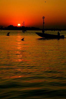 coucher d'soleil à la pointe de Venise
