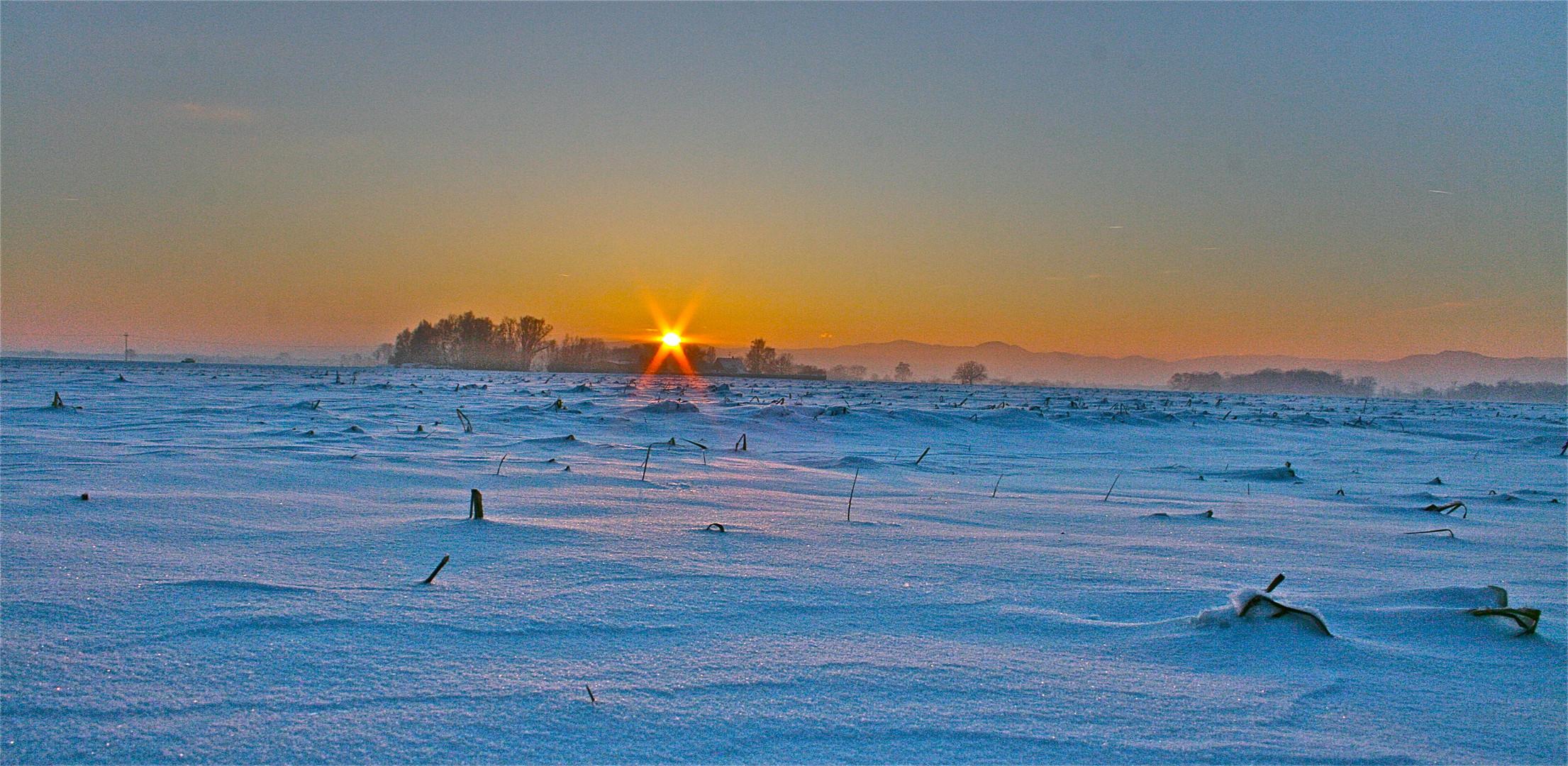 coucher soleil paysage enneigé ALSACE déc. 2010