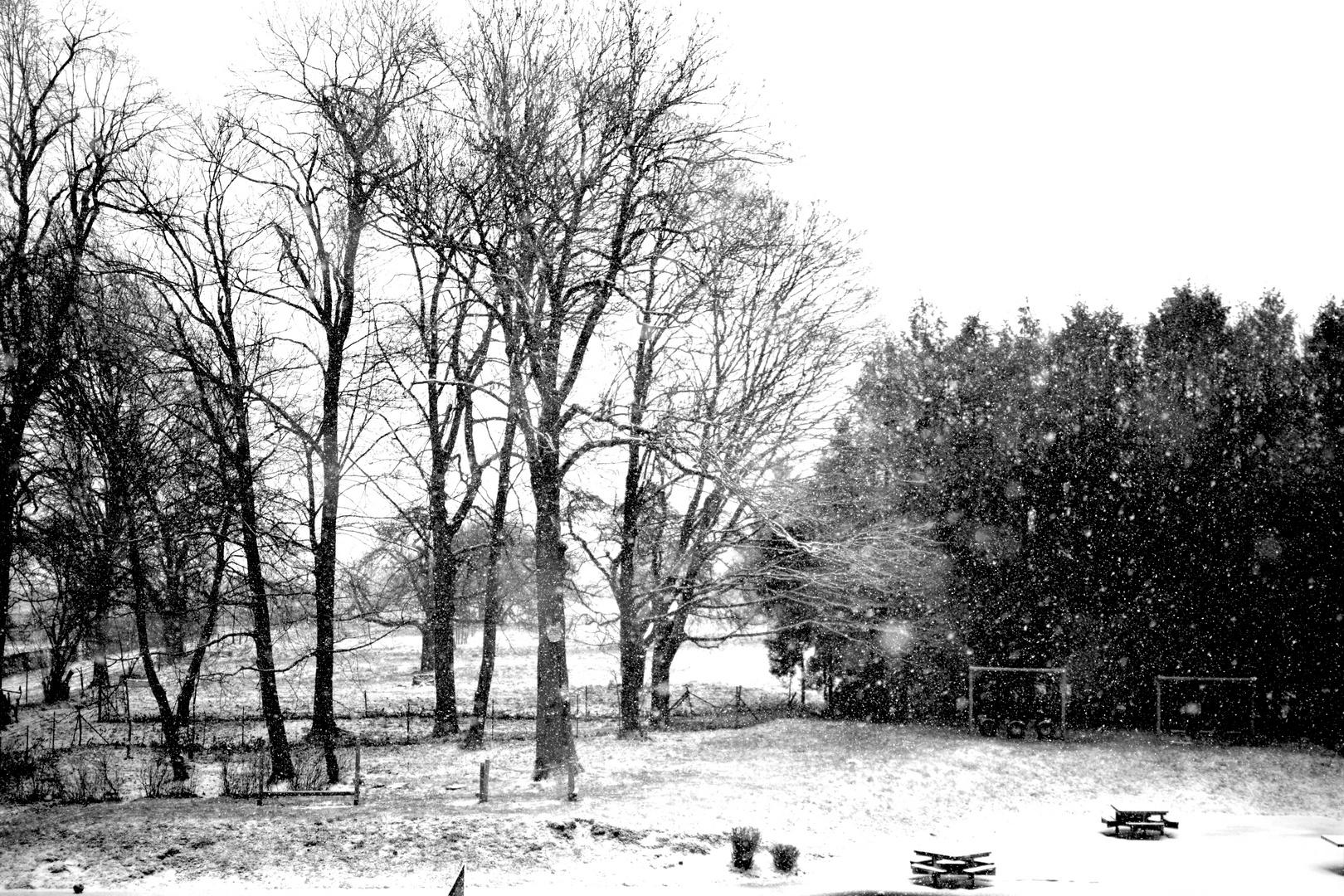 Cour de récréation sous la neige