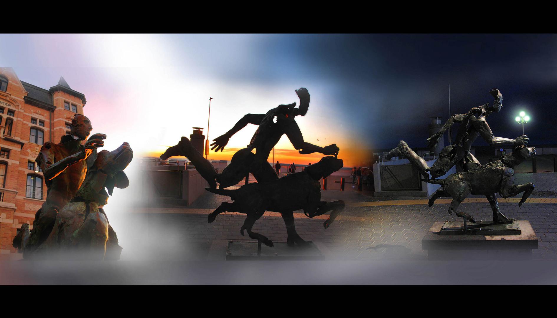 course dans le temps de la statue...