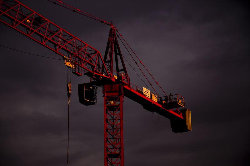 Crane in stormy sky