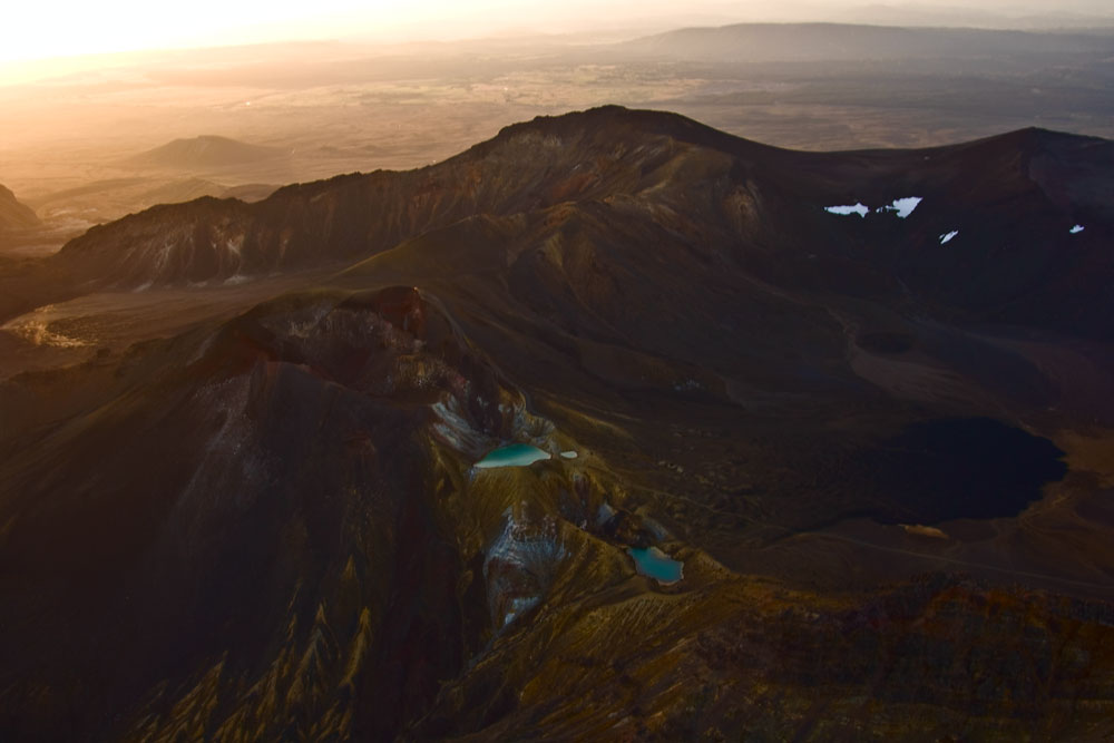 Crater lakes near Mt-Ngauruhoe in Sunset