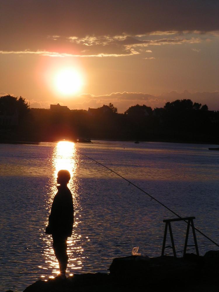 Crépuscule au port d'Etel (Bretagne)
