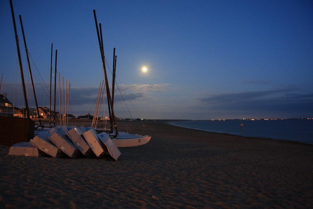 Crépuscule sur la plage de La Turballe