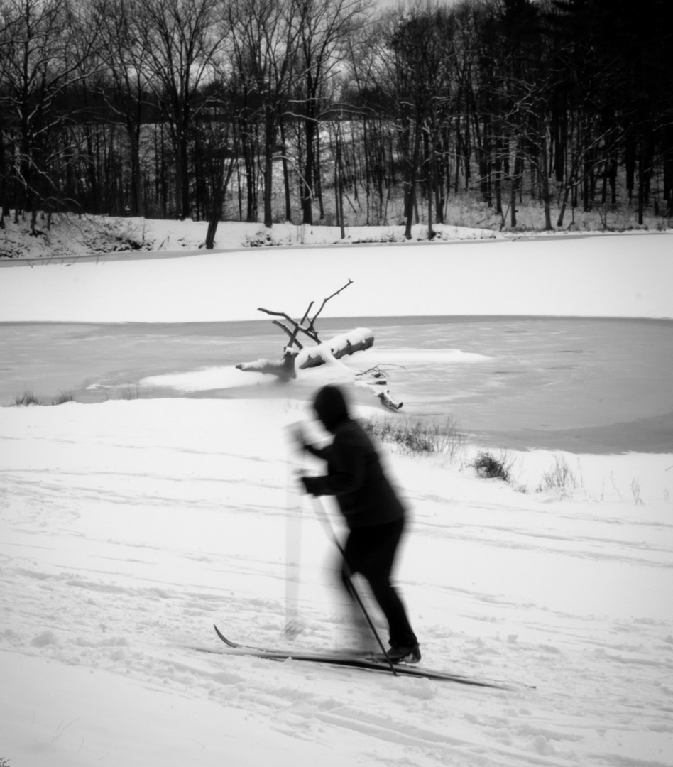Cross Country Skiing by the Lake