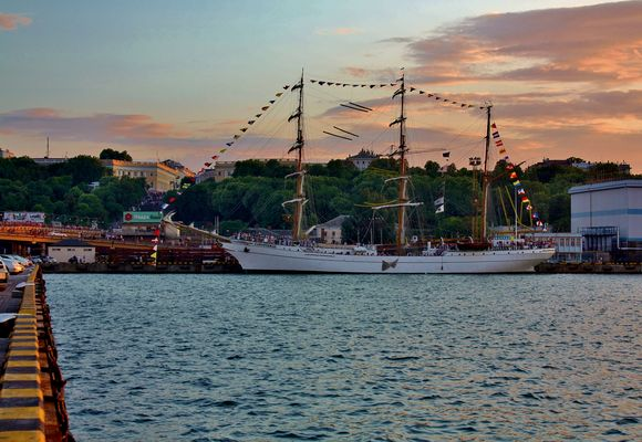 """Cuauhtemoc"" in Odessa, Ukraine for a port and good will visit."
