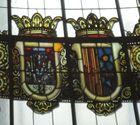 Cúpula vidriada edificio de Correos. Valencia. Detalle escudo de Sevilla