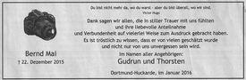 Danksagung zum Tod von Bernd Mai von Rolf Schuchmann