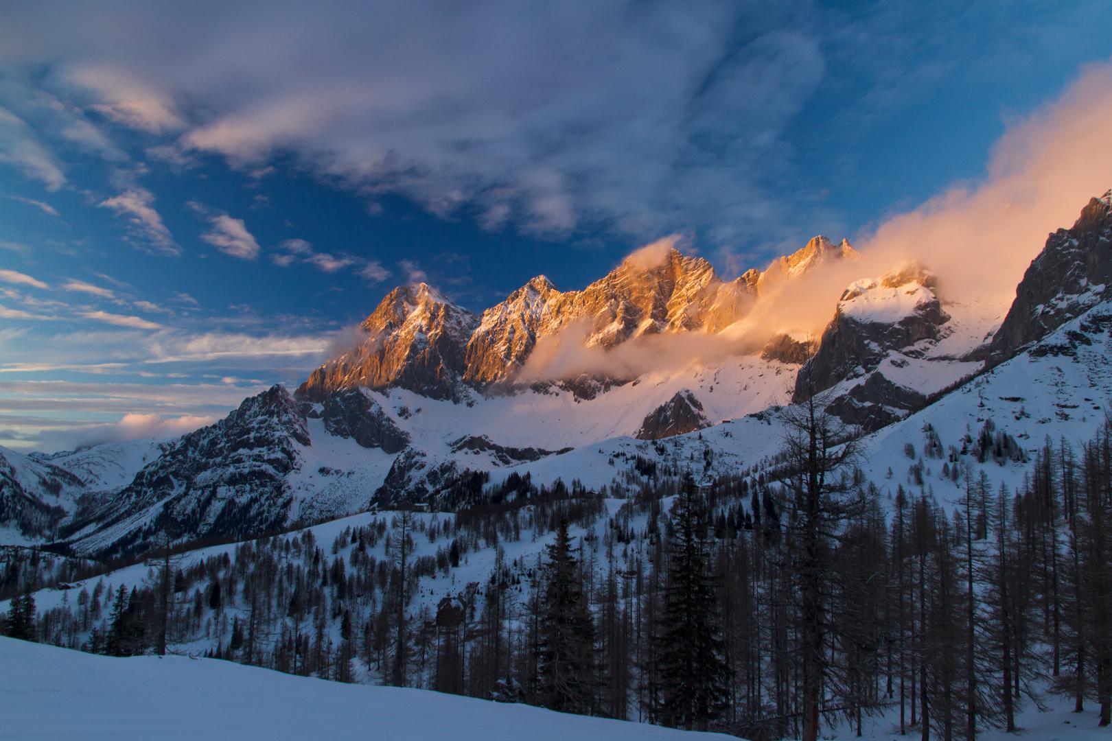 Dachstein-Massiv bei Sonnenuntergang