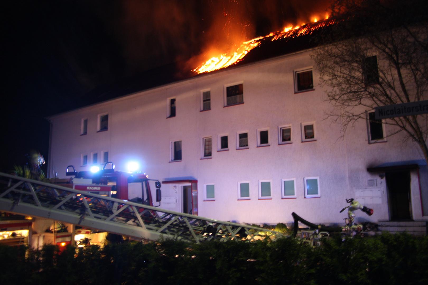 Dachstuhlbrand nach Brandstiftung