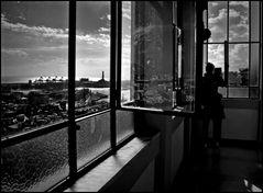 Dalla finestra dell'ascensore di Castelletto b/n