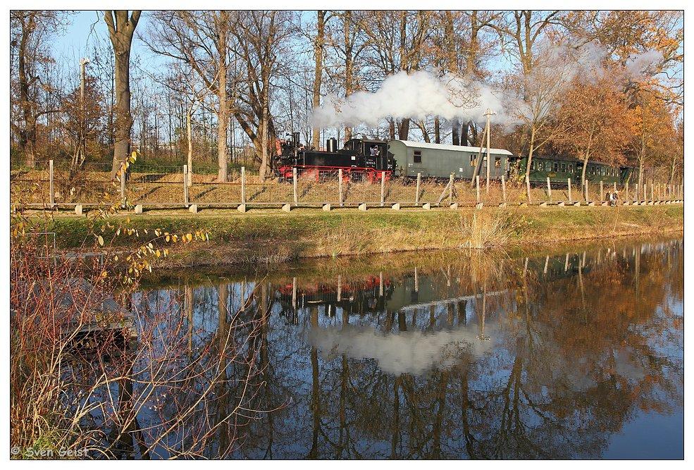Dampfende Spiegelung im Oschatzer Rosensee