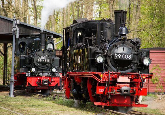 Dampflok 994511 und 99608 im Einsatz zum Jubiläum.