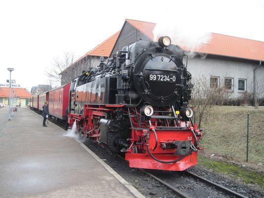 Dampflokomotive 997234-0 Harzquerbahn im Bahnhof Wernigerode