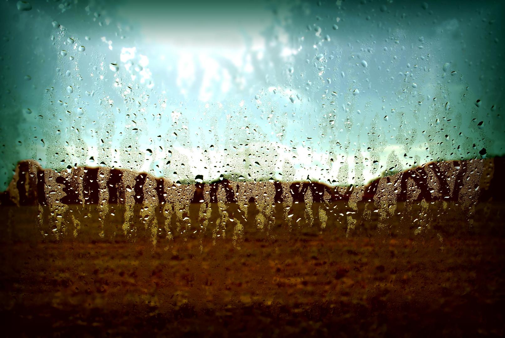 ?dancing crowd in the rain - !just drops