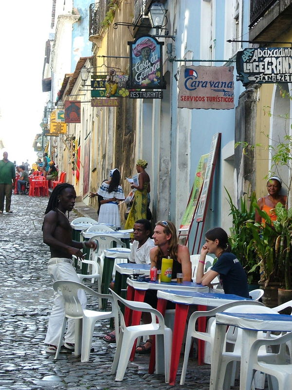 dans les rue du Pelhourino à Bahia