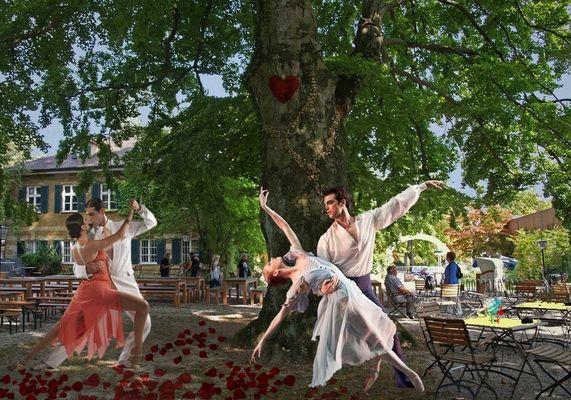 Danse dans le jardin-de-la-brasserie