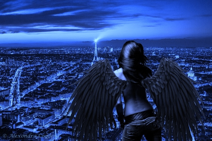 Dark Angel in Paris at night