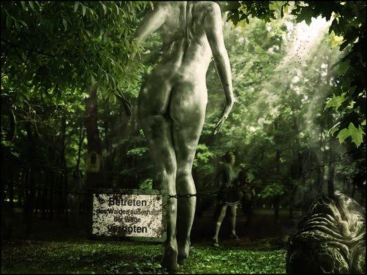 Das Betreten des Waldes ist verboten und wer sich nicht daran hält ist selbst schuld