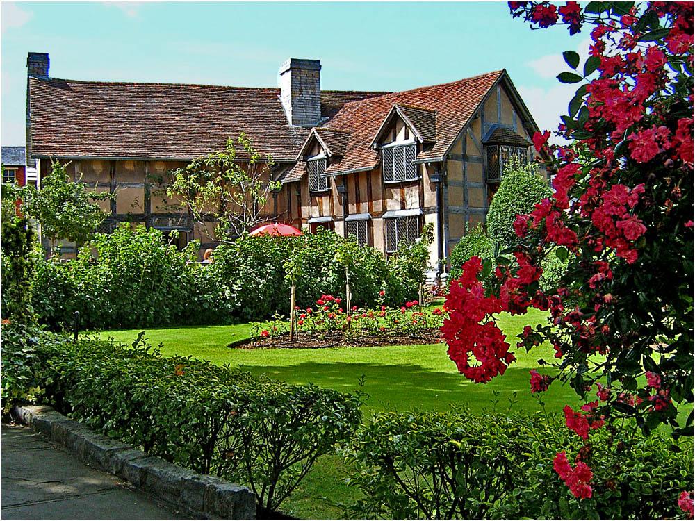 Das Geburtshaus von William Shakespeare in Stratford-upon-Avon, Gartenansicht
