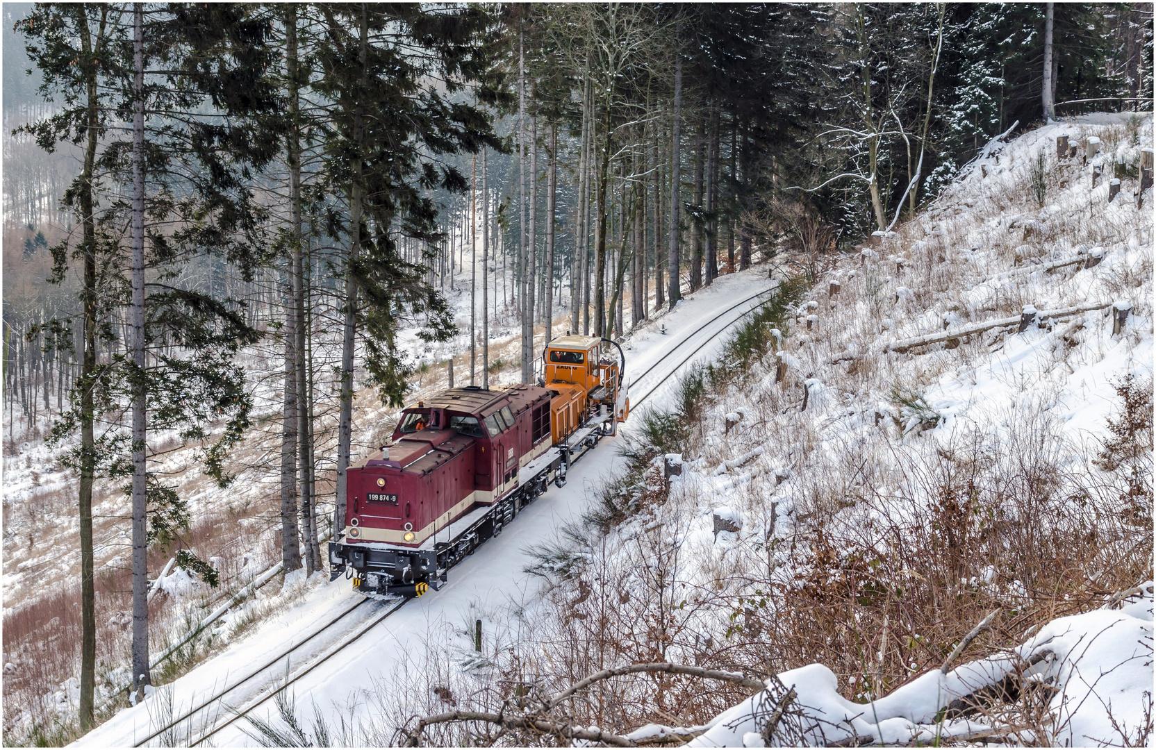 """Das """"Harzkamel"""" mit Schneefräse..."""