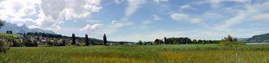 das Panorama vom Naturschutzgebiet in Thun von Juan